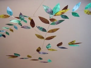 Dappled Leaf Mobile in Plum-Emerald-Blue by Moon-Lily Silk Mobiles